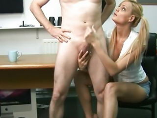 Cfnm blonde babe jerking off a cock