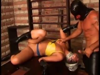 Latex bondage slave
