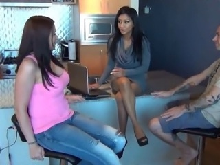 Two sexy girls in pantyhose footjob & Titsjob