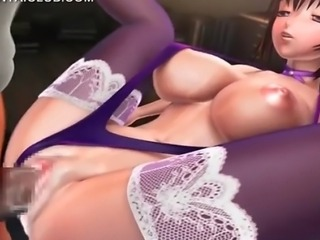 Cunt banged 3d hentai hottie in stockings gets crampie