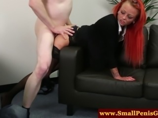 CFNM mistress giving a sympathy fuck to his microscopic cock