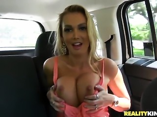 Blonde with huge melons and clean cunt places her around the dick and then...