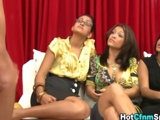 Real femdom babes watch a jerk off contest