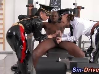 Latex clad dominas tug huge black cock in hi definition