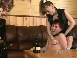 Drunk Guy Has A Hard Femdom Time