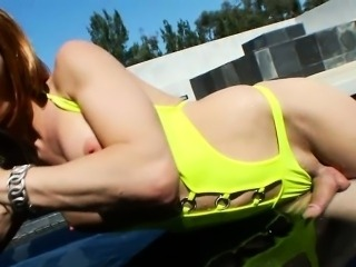 Fake tits shemale Danika Dreamz ass fucked by the pool