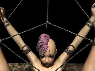 Tied up 3d hentai lezzy girl gets fingered