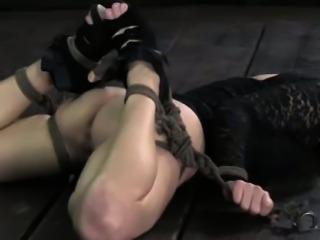 Beautiful bottom bondage babe ballgagged