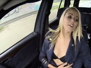 Nasty stewardess Christen Courtney banged in public place