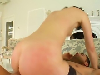 Leggy brunette Lora Row in black stockings gets her perfectly shaped ass...