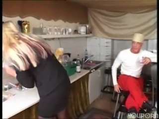 Giant blonde lady gets fucked from behind free