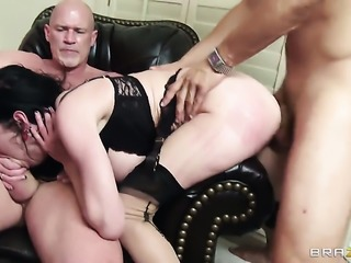 Mr. Pete fucks Bonnie Rotten with juicy melons as hard as possible in anal...