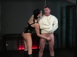 Slave in straitjacket gets handjob bdsm femdom
