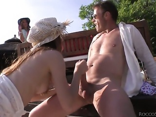 Diamond Cross slowly sucks the head of her Rocco Siffredis schlong before she...