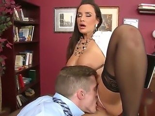 Lisa ann xxx stops by her sex therapist. She is wearing sexy black stockings...