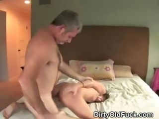 Brunette Teen Sucking Off And Fucked By Dirty Old Man