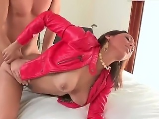 This lovely cock craving brunette and her tight wet twat are being slammed...