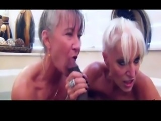 Two filthy grannies get clean while getting dirty free