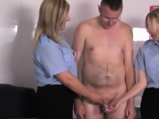 Uniformed dommes footworshipped by filthy sub