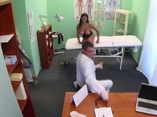 Busty squirting patient on a hospital spycam