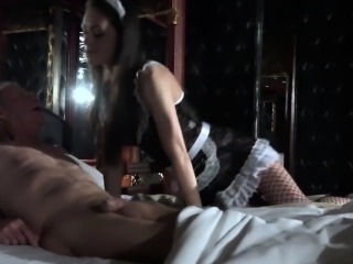 Senior man gets young maid sexual servings