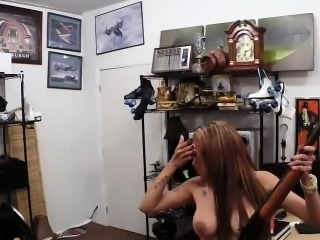 Crazy bitch with big boobs gets screwed at the pawnshop