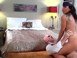 Johnny Sins is having his way with a stewardess. He is with her in a hotel...