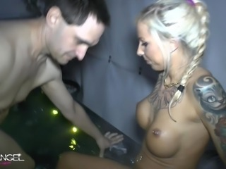 German blond girl fucks hard in jacuzzi