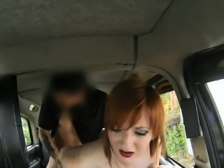 Horny redhead pounded by pervert driver in the backseat