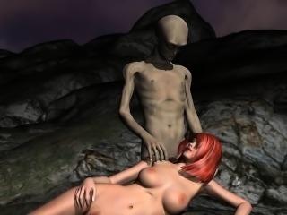 Busty 3D Redhead Sucks and Fucks an Alien