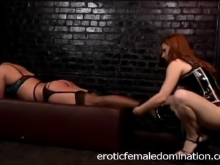 Naughty stud enjoys getting pleasured by Mistress Gemini in the dungeon