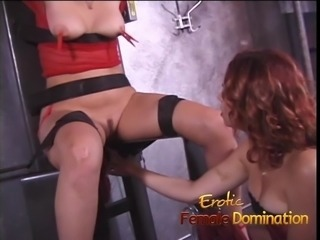 Girl in red fishnet lingerie dominated and humiliated like