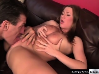 Lusty brunette Katrine Moss uses her tits to make her lover cum