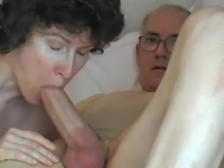 Grandpa's big cock, attractive mature swallows it