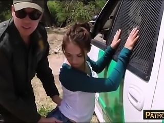 Brunette babe gets screwed by pervert border patrol agent