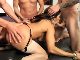 Horny big tits woman Francesca Le in sexy stockings gets a gangbang she wont...