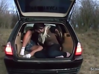 German teen fuck outdoor in car with stranger