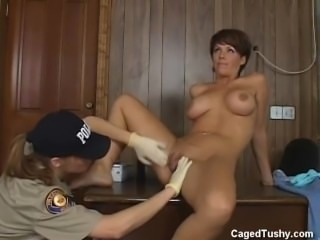 This girl is arrested for the first time and the cop is searching her good