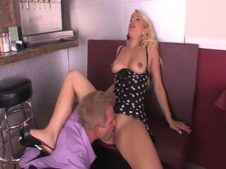 Seductress in polka dot lingerie fucked in her pink pussy