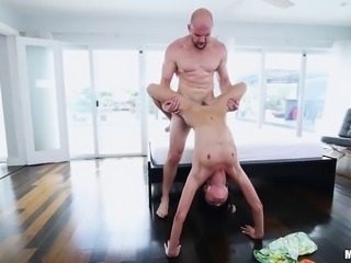 Adria's bald lover is always there to push the cock into her depths