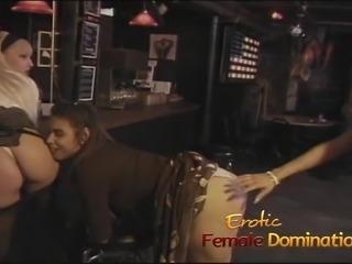 Three slutty bitches enjoy some hard spanking in the bar