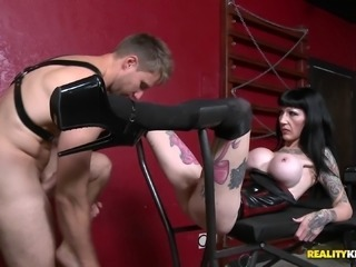 Mistress punishes her man slave before letting him fuck her