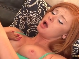 Redhead hottie Alex Tanner gets her pussy eaten and toy fucked by Sadie...