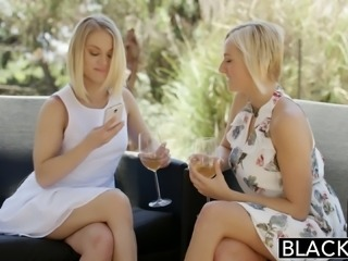 Two incredible blonde bimbos share a BBC for threesome