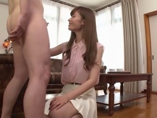 Seductive Japanese girl haves one of her leg lifted and a huge cock wreck her...