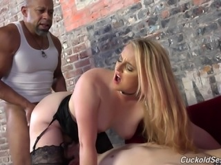She makes her short dicked man watch her fuck a hung black guy