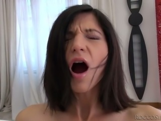 Blue eyed brunette tramp with small tits swallows thick cock on POV cam