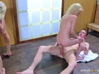 Skinny lesbian babes of all hair colors and the friend's fat boner