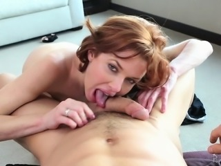 Wild, horny redhead cums like crazy and squirts on his cock