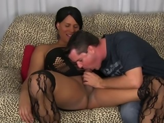 Dominate shemale makes him suck her cock before fucking her